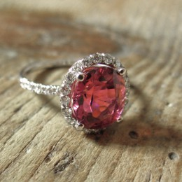 Rubellite & diamond ring.