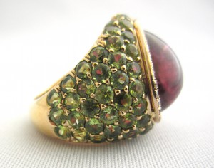 Bague rubellite, grenats tsavolites et diamants