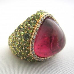 Rubellite, tsavolite garnet and diamond ring.