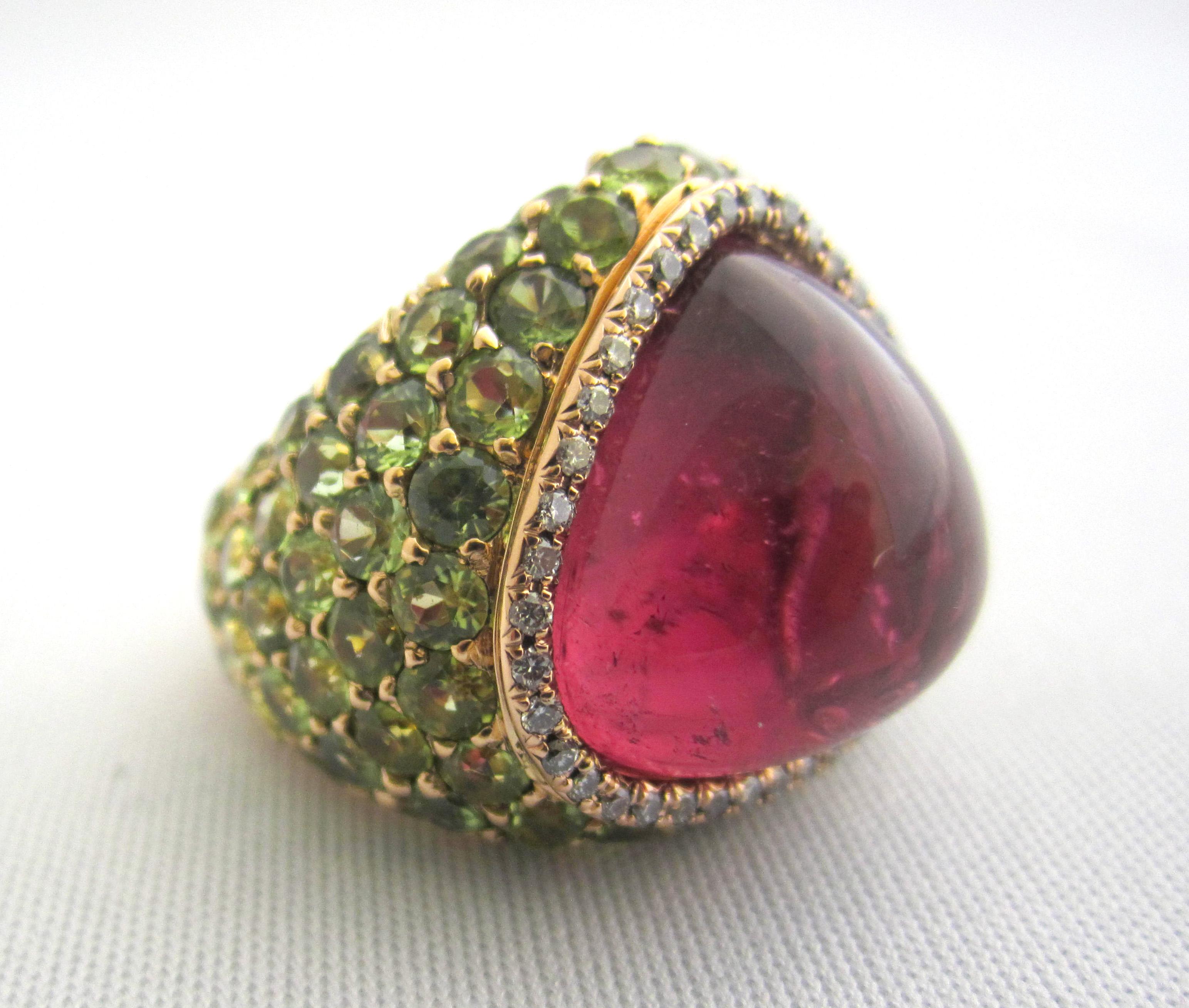 Rubellite, tsavolite garnet and diamond ring.
