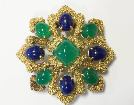Broche chrysoprase et lapis lazuli, Van Cleef & Arpels (Vendu)