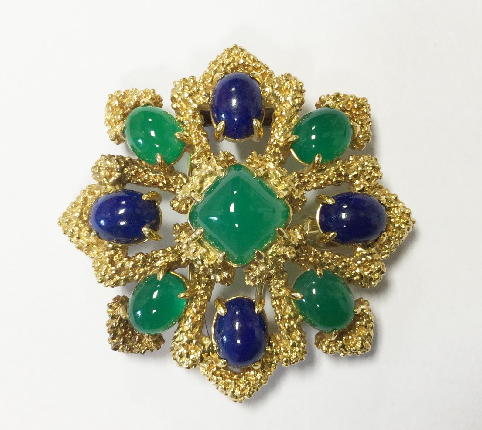 Broche Van Cleef & Arpels chrysoprase et lapis lazuli.