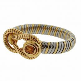 Yellow gold, steel and citrine tubogas bracelet, Cartier.