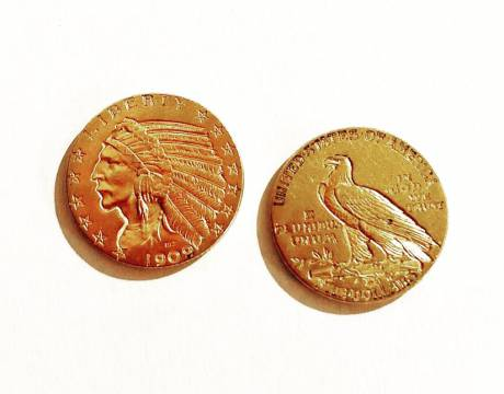 Two 5$ Indian Head gold coins (Sold)