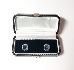 Sugar loaf sapphires and diamonds earrings.