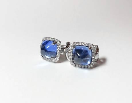 Clips d'oreille saphir et diamant (Vendu)