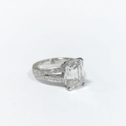 Emerald cut diamond ring.