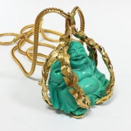 """Pendentif Bouddha """"rieur"""" turquoise et or, Asprey & Co Ltd"""