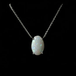 White gold Australian white opal pendant.