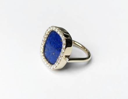 Bague lapis lazuli et diamant (Vendu)