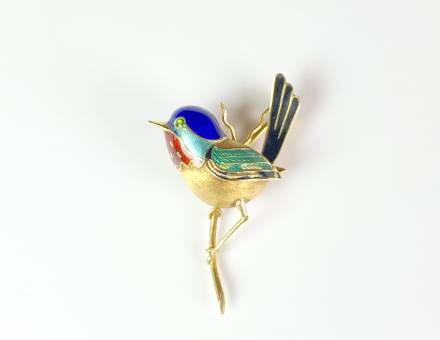 Enamel and gold bird brooch (To sell)