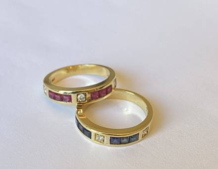 Gold sapphire, ruby and diamond bands, Gucci (To sell)