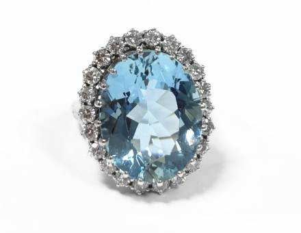 Aquamarine and diamond ring (Sold)